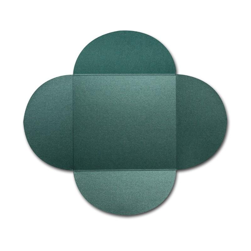 Gruppo Cordenons Stardream Emerald 6 1/4 Square 105# Cover Rounded Flap Pouchettes