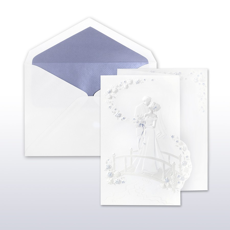 periwinkle and pearl printed stamped bride and groom on bridge fan