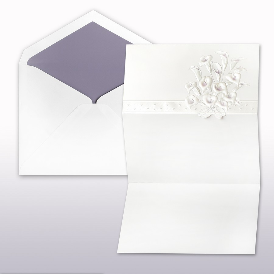 passion and pearl printed stamped calla lily fan fold cabinet of 50 invitations 50 inner envelopes 50 outer envelopes