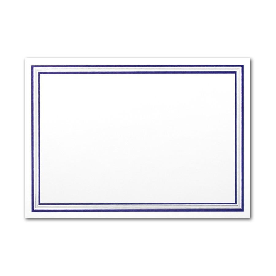 Boutique Vellum Soft White Large Buckingham Border Silver Foil/Navy Blue Print Card