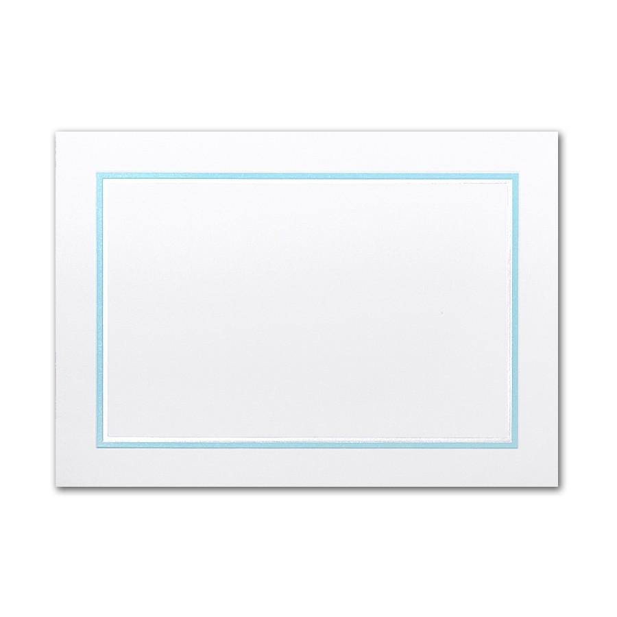 Boutique Vellum Super White Large Adelaide Border Pearl Foil/Tropical Blue Printed Card