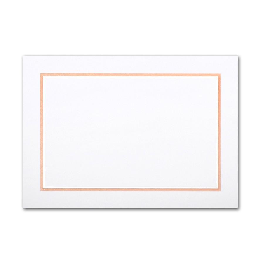 Boutique Vellum Super White Large Adelaide Border Pearl Foil/Tangerine Pointing Card