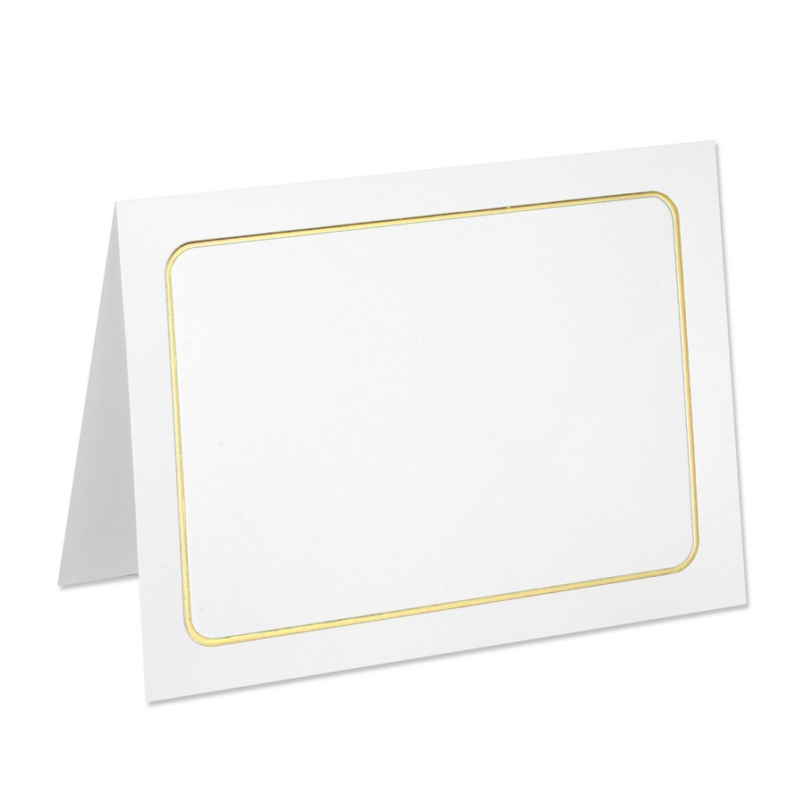 Classic Crest 80# Cover Solar White A7 Savannah Border Gold Foil Folders Pack of 50