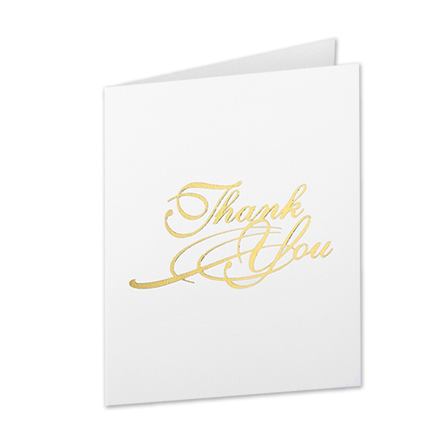 Neenah Classic Crest Solar White A2 Classical Thank You Gold Foil Folder