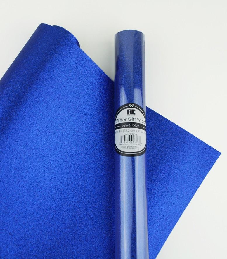 """Glitter Gift Wrap Jewel Blue 30"""" x 36""""  Roll"""
