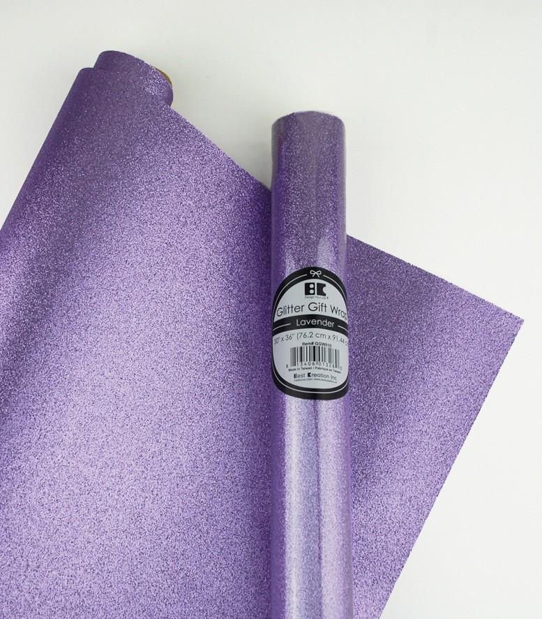 "Glitter Gift Wrap Lavender 30"" x 36""  Roll"