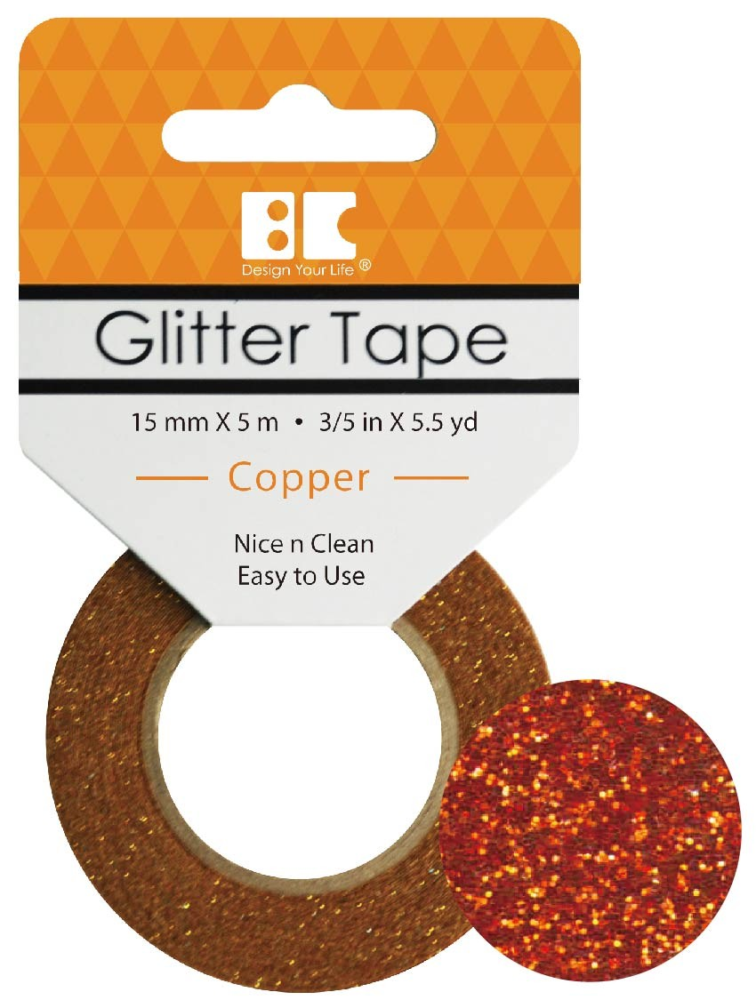 Glitter Tape Copper 15mm x 5m  Roll