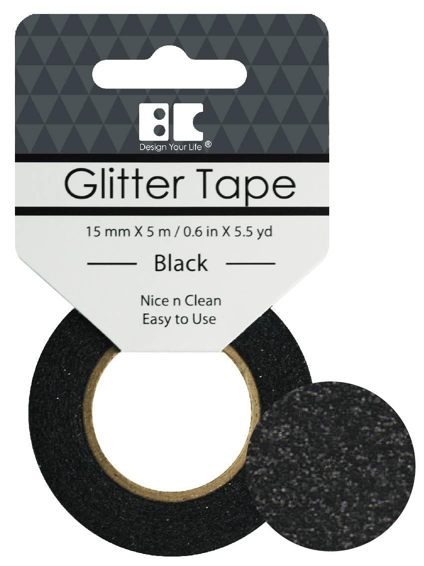 Glitter Tape Black 15mm x 5m  Roll