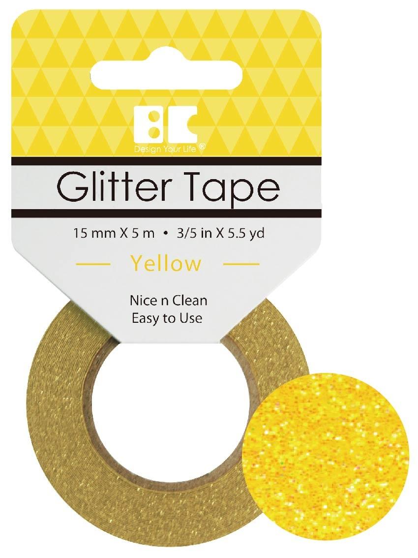 Glitter Tape Yellow 15mm x 5m  Roll