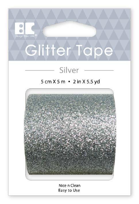 Large Glitter Tape Silver 50mm x 5m  Roll