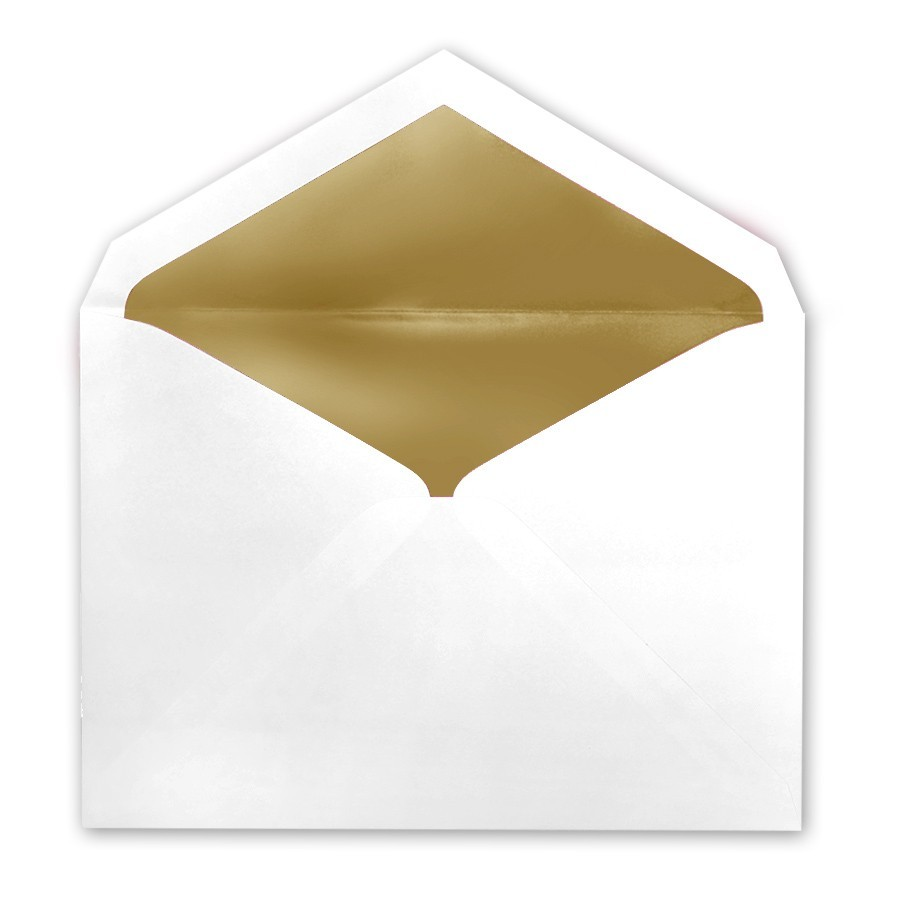 White Tiffany Pointed Flap Inner Ungummed Envelope With Glossy Gold Lining