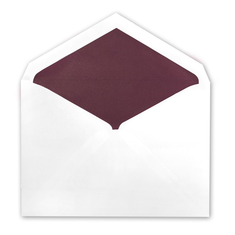 White Tiffany Pointed Flap Inner Ungummed Envelope With Matte Mulberry Lining