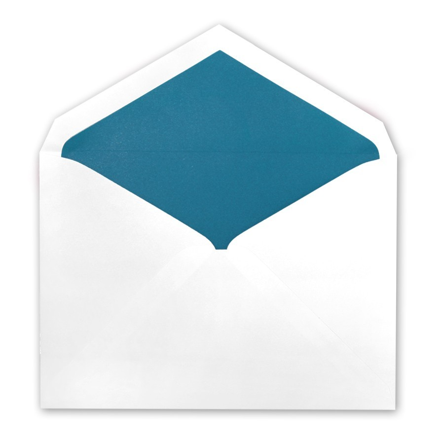 White Tiffany Pointed Flap Inner Ungummed Envelope With Matte Peacock Lining