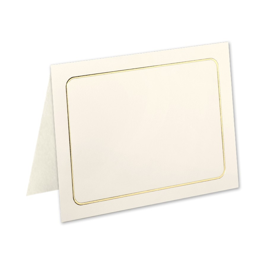 Classic Crest 80# Cover Classic Natural White A7 Savannah Border Gold Foil Folders