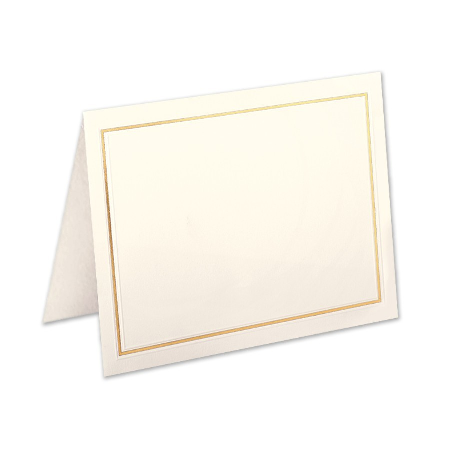 Premium Vellum Ecru Giant Yale Border Gold Foil Folder