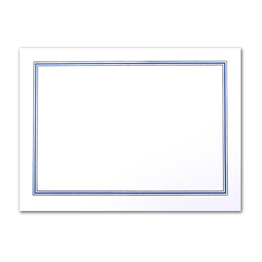 Premium Vellum Ultra White A7 Charleston Border Blue Foil Card