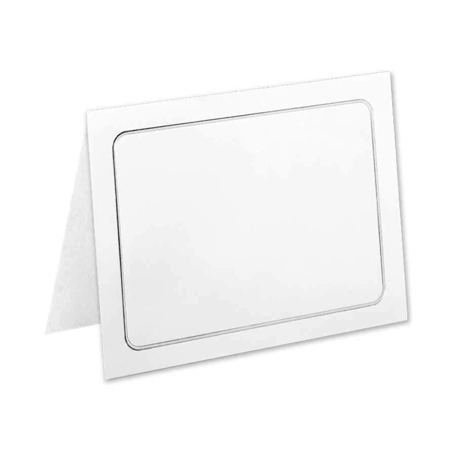 Classic Crest 80# Cover Solar White A7 Savannah Border Silver Foil Folders