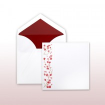 Red Cherry Blossoms Printed And Embossed On Side Panel Invitation