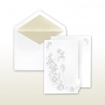 Pearl Stamped Bride And Groom On Staircase Fan Fold Invitation
