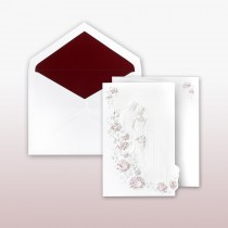 Burgundy And Pearl Printed/Stamped Bride And Groom On Staircase Fan Fold Invitation
