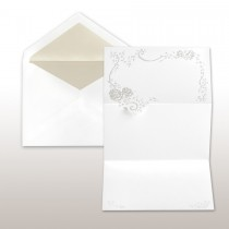 Pearl Stamped Rose Spray - Fan Fold Invitation