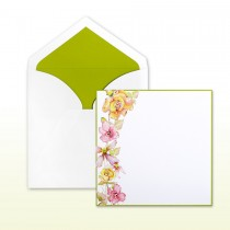Pink, Kiwi, Yellow Printed Floral Spray With Kiwi Border Invitation