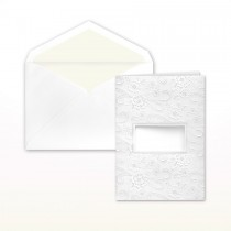 Floral Stamped Pattern With Cutout For Names White Folder Invitation