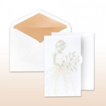 Quince Anos, Apricot Printed/Stamped Young Girl In Gown Holding Calla Lilies Fan Fold Invitation