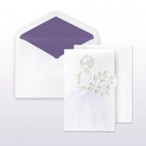 Quince Anos, Purple Printed/Stamped Young Girl In Gown Holding Calla Lilies Fan Fold Invitation