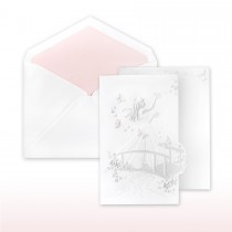 Quince Anos, Pink And Pearl Printed/Stamped Young Girl On Bridge Fan Fold Invitation
