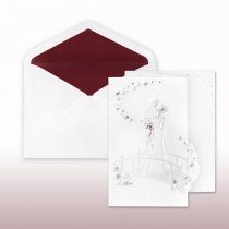 Burgundy And Pearl Printed/Stamped Bride And Groom On Bridge Fan Fold Invitation