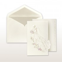 Pearl And Burgundy Printed/Stamped Bride And Groom With Calla Lilies Fan Fold Invitation