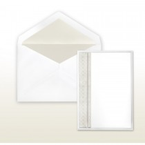 Pearl Multi-Stamped Embossed Side Panel White Invitation