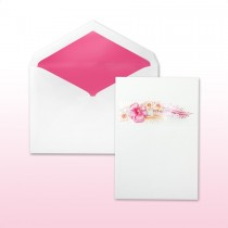 Hot Pink And Tangerine Printed/Stamped Hibiscus With Inset For Names Or Monogram Invitation