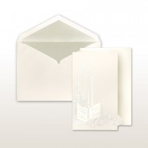 Pearl Stamped Bible, Roses And Church Window Trifold Invitation