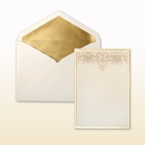 Matte Gold Stamped Filigree And Matte Gold Border Invitation