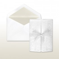 Pearl Stamped Castilian Medallioon With Wrap Around Bow (sold separately) Front Fold Invitation