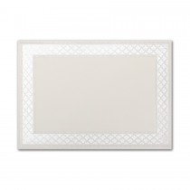 Boutique Vellum Ecru Large Etched Border Pearl Foil Card