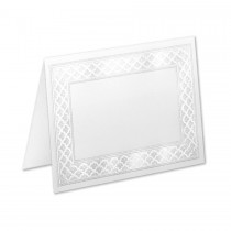 Boutique Vellum Bright White 4 Bar Etched Border Pearl Foil Folder
