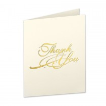 Neenah Classic Crest Classic Natural White A2 Classical Thank You Gold Foil Folder