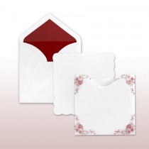 Scalloped Border With Red Printed Antique Floral Decorative Translucent Jacket Invitation