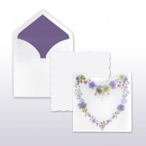 Purple, Blue, Red, Yellow Floral Heart Translucent Pocket With White Scalloped Edge Insert (includes both pieces) Invitation