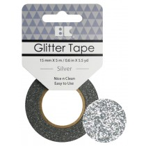 Glitter Tape Silver 15mm x 5m  Roll