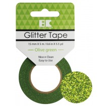 Glitter Tape Olive Green 15mm x 5m  Roll