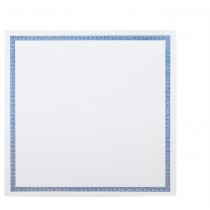 "Classic Linen 80# Cover Avon Brilliant White 6 1/4"" Square Greek Key Border Blue Foil Cards Pack of 50"