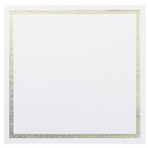 "Classic Linen 80# Cover Avon Brilliant White 6 1/4"" Square Greek Key Border Gold Foil Cards Bulk Pack of 250"