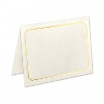 Neenah Classic Linen Classic Natural White A2 Oxford Border Gold Foil Folder