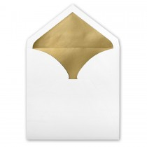 White Royal Pointed Flap Inner Ungummed Envelope With Glossy Gold Lining
