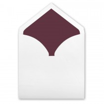 White Royal Pointed Flap Inner Ungummed Envelope With Matte Mulberry Lining
