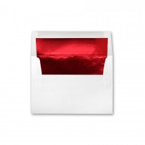 White Wove A9 Red Foil Lined Envelope
